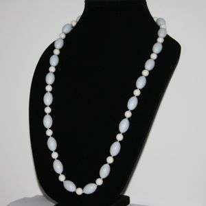 Vintage light blue sliver white long necklace
